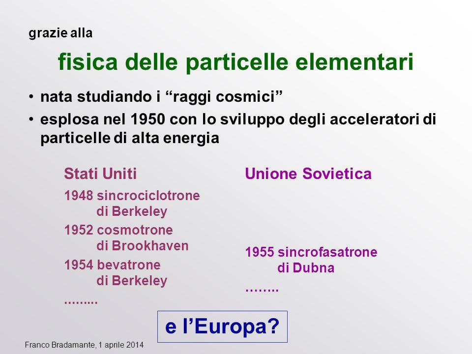 """Franco Bradamante, 1 aprile 2014 grazie alla fisica delle particelle elementari nata studiando i """"raggi cosmici"""" esplosa nel 1950 con lo sviluppo degl"""