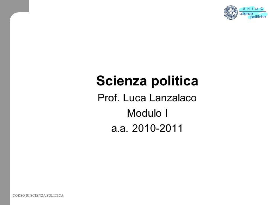 CORSO DI SCIENZA POLITICA Scienza politica Prof. Luca Lanzalaco Modulo I a.a. 2010-2011
