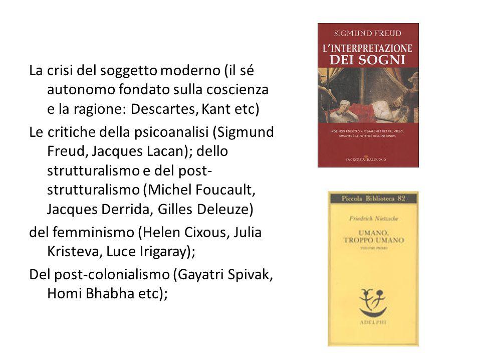 La crisi del soggetto moderno (il sé autonomo fondato sulla coscienza e la ragione: Descartes, Kant etc) Le critiche della psicoanalisi (Sigmund Freud