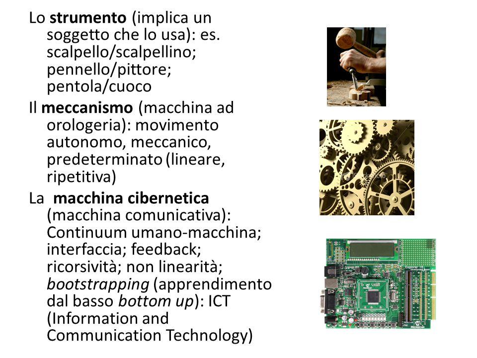 Lo strumento (implica un soggetto che lo usa): es. scalpello/scalpellino; pennello/pittore; pentola/cuoco Il meccanismo (macchina ad orologeria): movi
