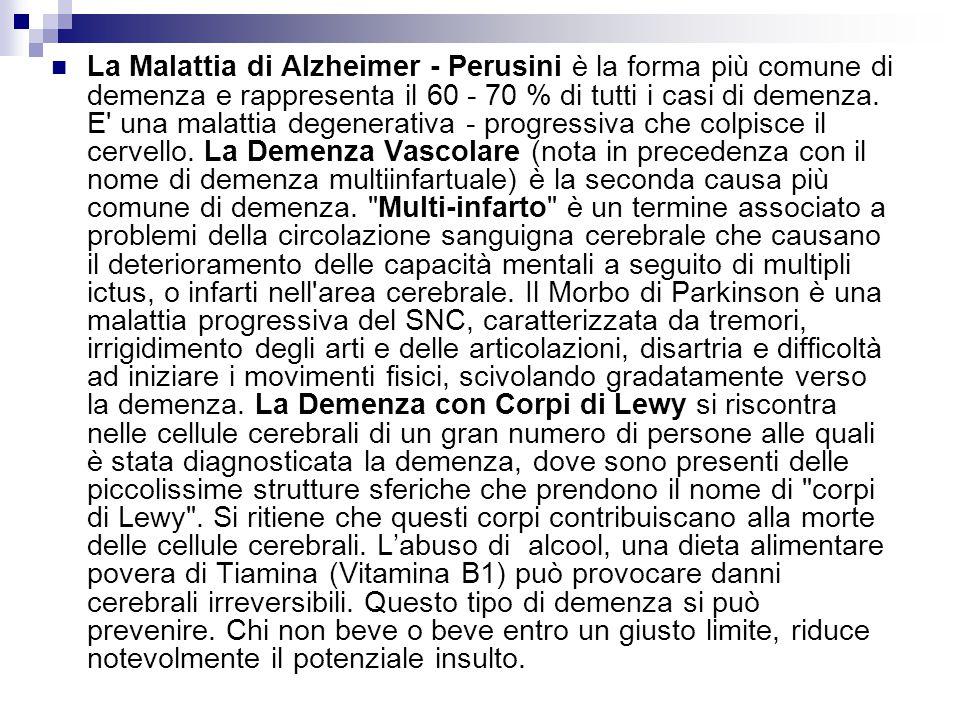 La Malattia di Alzheimer - Perusini è la forma più comune di demenza e rappresenta il 60 - 70 % di tutti i casi di demenza. E' una malattia degenerati