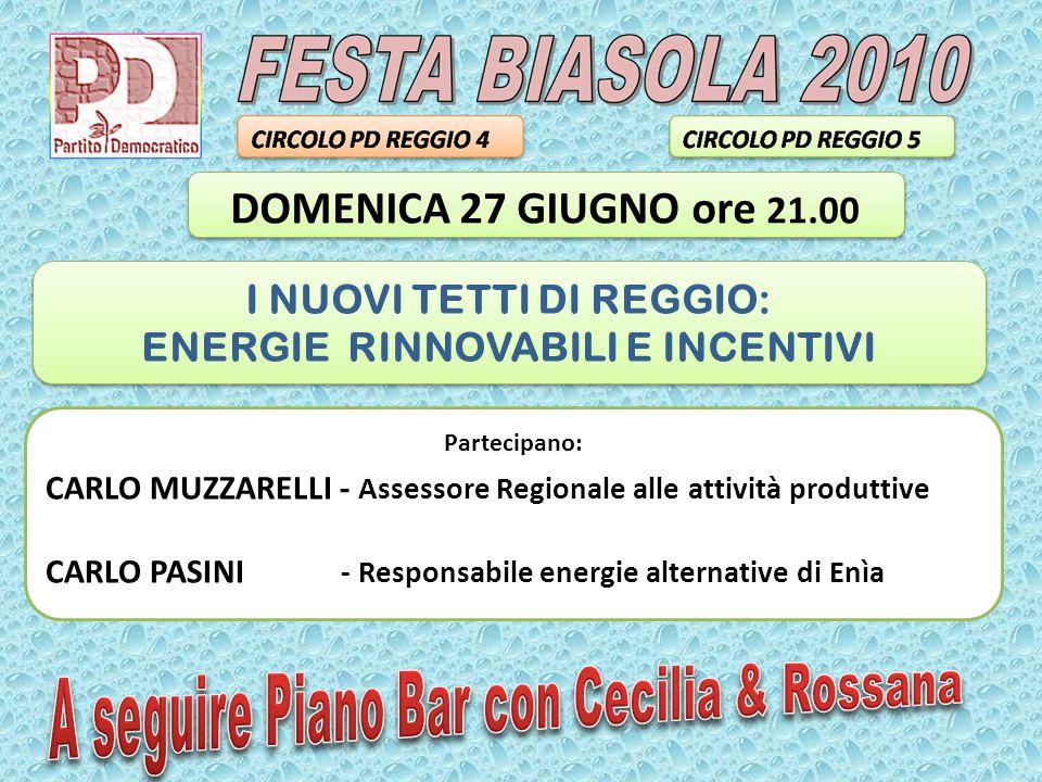 Partecipano: CARLO MUZZARELLI - Assessore Regionale alle attività produttive CARLO PASINI - Responsabile energie alternative di Enìa I NUOVI TETTI DI REGGIO: ENERGIE RINNOVABILI E INCENTIVI I NUOVI TETTI DI REGGIO: ENERGIE RINNOVABILI E INCENTIVI DOMENICA 27 GIUGNO ore 21.00