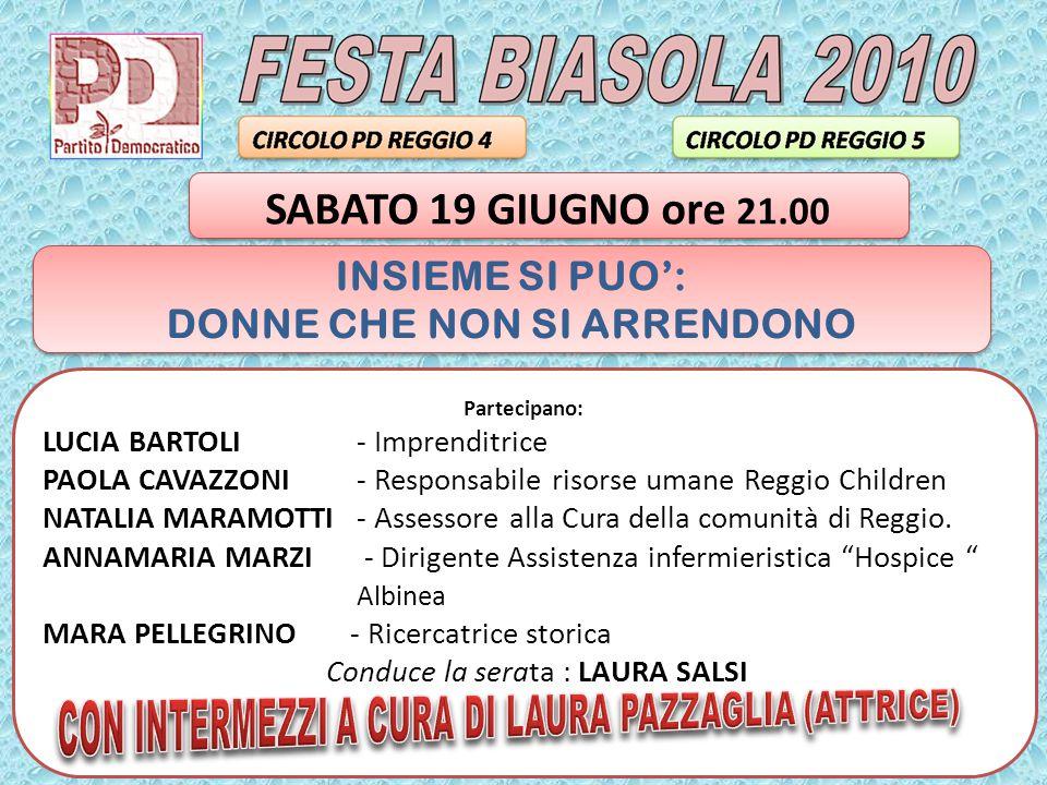 Partecipano: LUCIA BARTOLI - Imprenditrice PAOLA CAVAZZONI - Responsabile risorse umane Reggio Children NATALIA MARAMOTTI- Assessore alla Cura della comunità di Reggio.