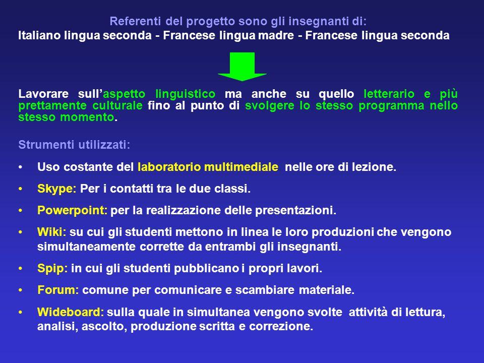 Referenti del progetto sono gli insegnanti di: Italiano lingua seconda - Francese lingua madre - Francese lingua seconda Lavorare sull'aspetto linguistico ma anche su quello letterario e più prettamente culturale fino al punto di svolgere lo stesso programma nello stesso momento.