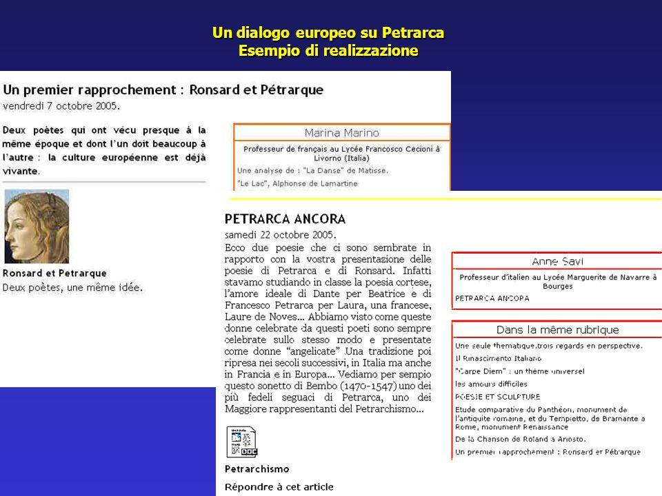 Un dialogo europeo su Petrarca Esempio di realizzazione