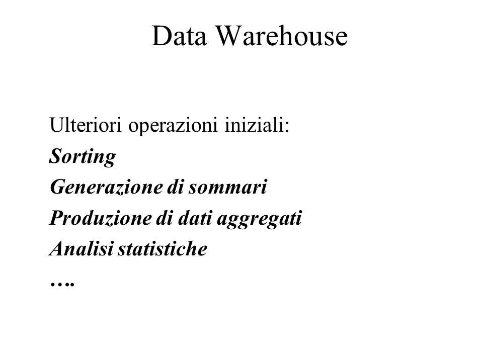 Data Warehouse Ulteriori operazioni iniziali: Sorting Generazione di sommari Produzione di dati aggregati Analisi statistiche ….