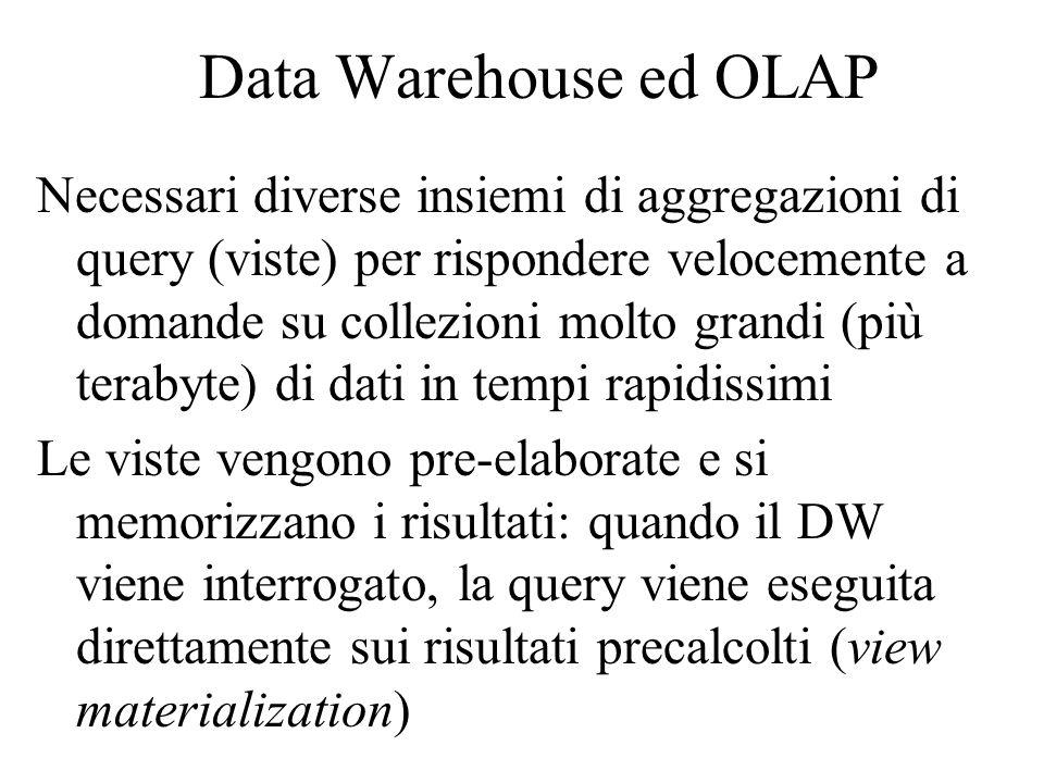 Data Warehouse ed OLAP Necessari diverse insiemi di aggregazioni di query (viste) per rispondere velocemente a domande su collezioni molto grandi (più