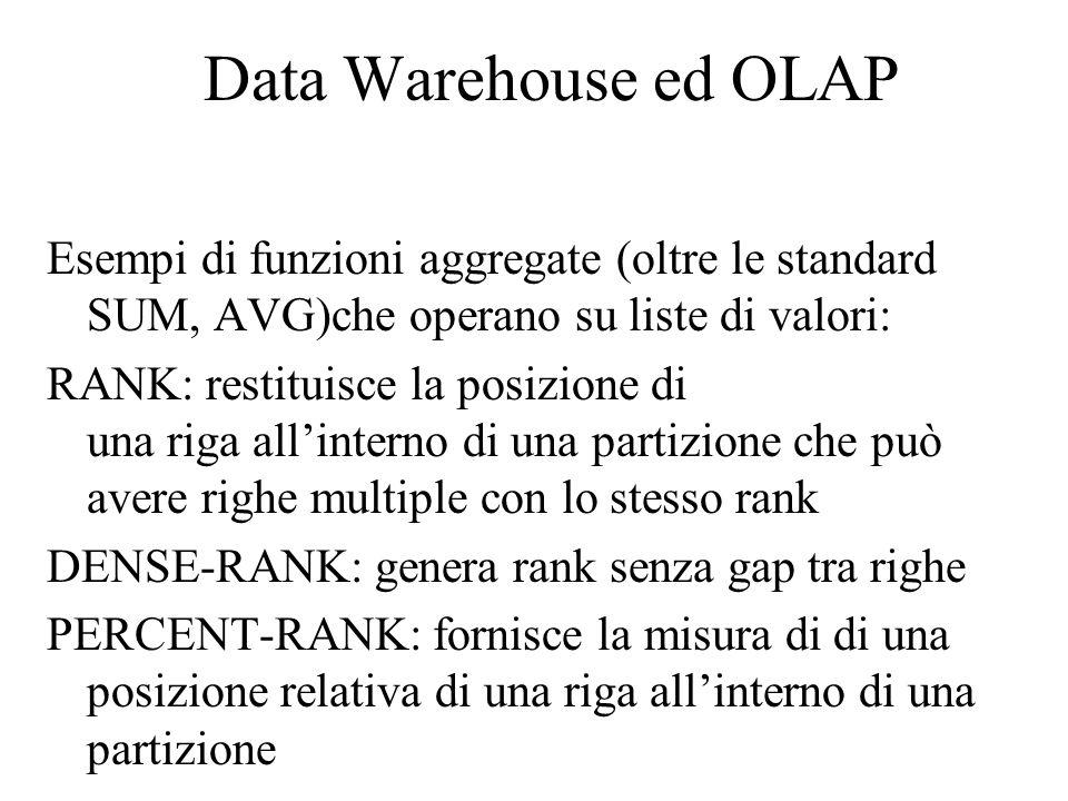 Data Warehouse ed OLAP Esempi di funzioni aggregate (oltre le standard SUM, AVG)che operano su liste di valori: RANK: restituisce la posizione di una riga all'interno di una partizione che può avere righe multiple con lo stesso rank DENSE-RANK: genera rank senza gap tra righe PERCENT-RANK: fornisce la misura di di una posizione relativa di una riga all'interno di una partizione