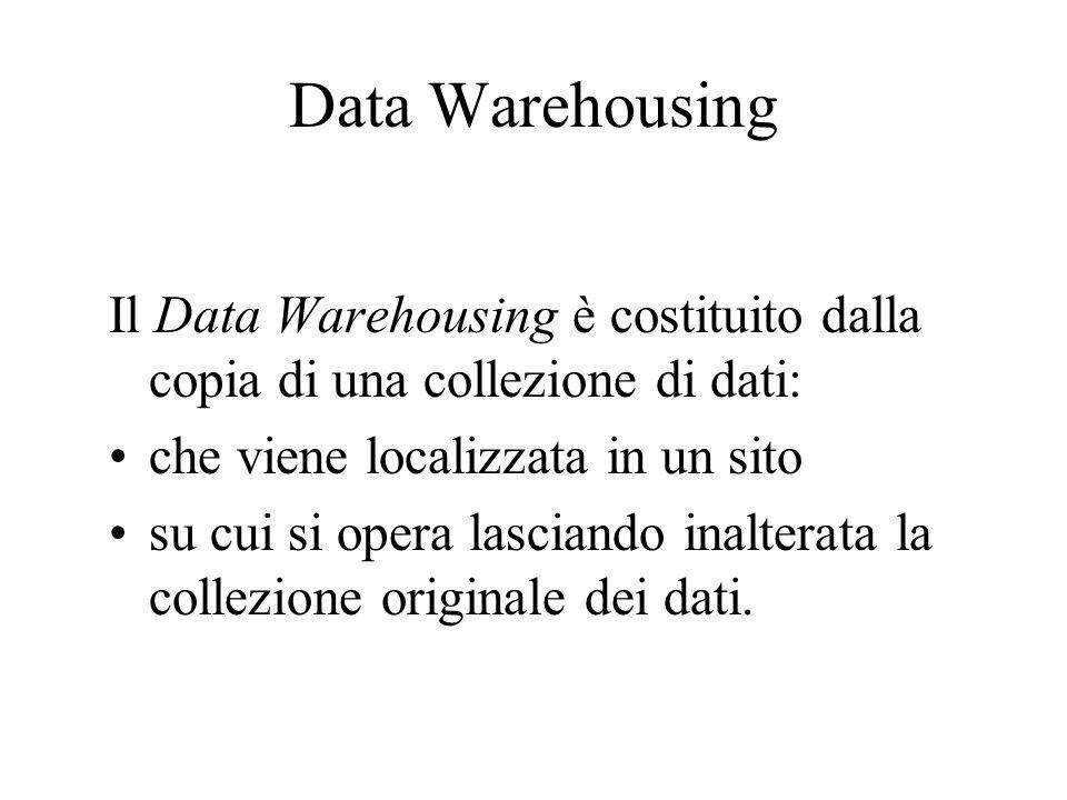 Data Warehousing Il Data Warehousing è costituito dalla copia di una collezione di dati: che viene localizzata in un sito su cui si opera lasciando in