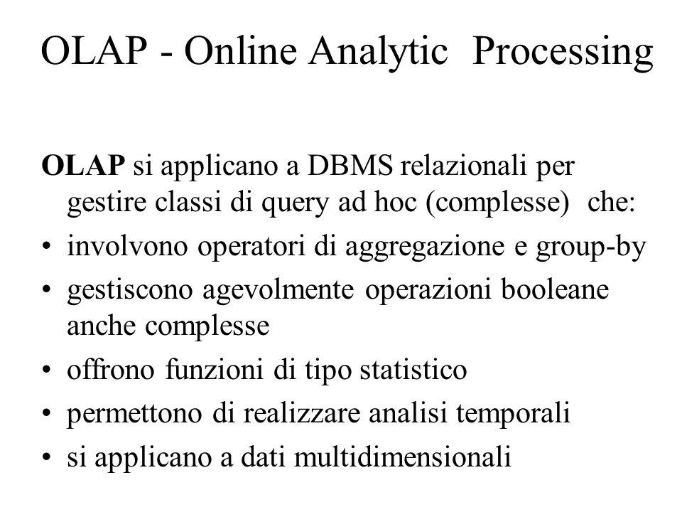 OLAP - Online Analytic Processing OLAP si applicano a DBMS relazionali per gestire classi di query ad hoc (complesse) che: involvono operatori di aggregazione e group-by gestiscono agevolmente operazioni booleane anche complesse offrono funzioni di tipo statistico permettono di realizzare analisi temporali si applicano a dati multidimensionali