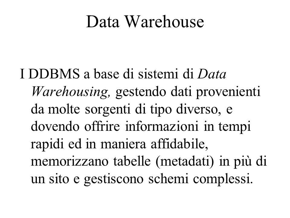 Data Warehouse I DDBMS a base di sistemi di Data Warehousing, gestendo dati provenienti da molte sorgenti di tipo diverso, e dovendo offrire informazi
