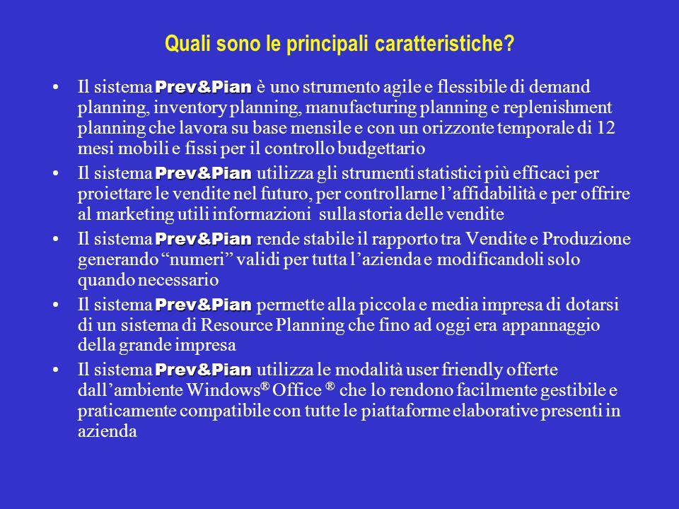 Quali sono le principali caratteristiche? Prev&PianIl sistema Prev&Pian è uno strumento agile e flessibile di demand planning, inventory planning, man