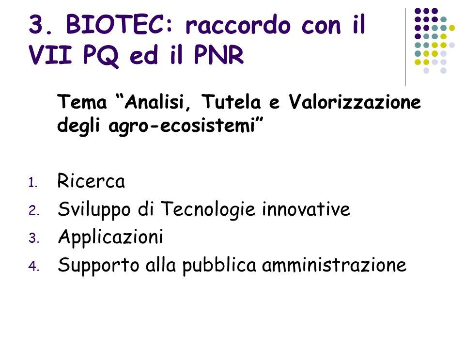 """3. BIOTEC: raccordo con il VII PQ ed il PNR Tema """"Analisi, Tutela e Valorizzazione degli agro-ecosistemi"""" 1. Ricerca 2. Sviluppo di Tecnologie innovat"""