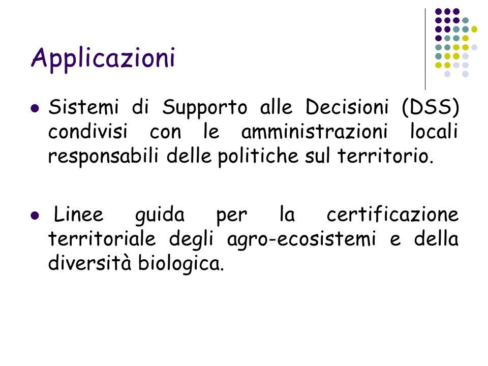 Applicazioni Sistemi di Supporto alle Decisioni (DSS) condivisi con le amministrazioni locali responsabili delle politiche sul territorio.