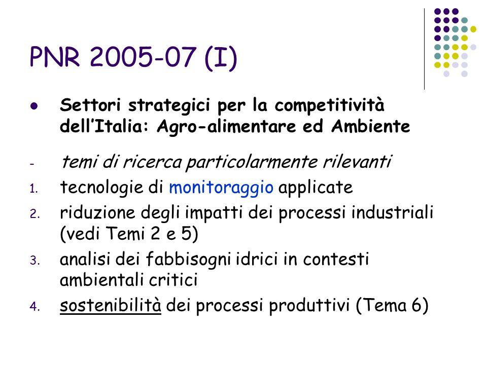 PNR 2005-07 (I) Settori strategici per la competitività dell'Italia: Agro-alimentare ed Ambiente - temi di ricerca particolarmente rilevanti 1.