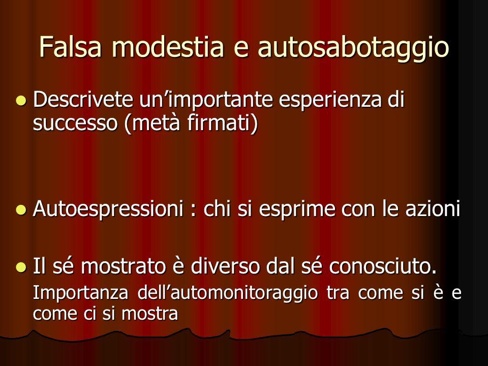Falsa modestia e autosabotaggio Descrivete un'importante esperienza di successo (metà firmati) Descrivete un'importante esperienza di successo (metà f