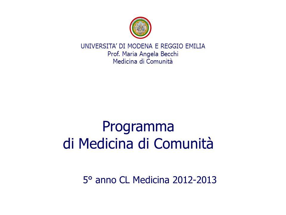5° anno CL Medicina 2012-2013 UNIVERSITA' DI MODENA E REGGIO EMILIA Prof.