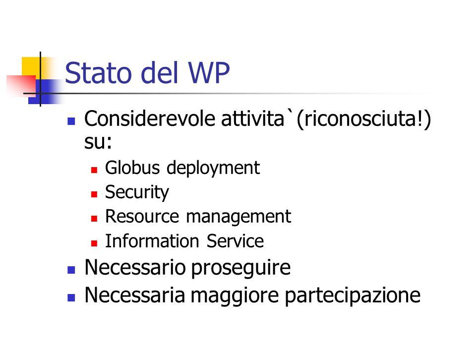 Stato del WP Considerevole attivita`(riconosciuta!) su: Globus deployment Security Resource management Information Service Necessario proseguire Necessaria maggiore partecipazione
