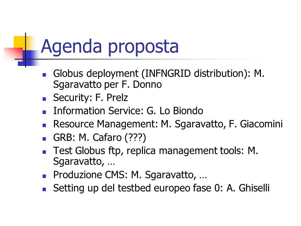 Agenda proposta Globus deployment (INFNGRID distribution): M.