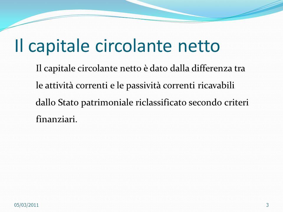Il capitale circolante netto Il capitale circolante netto è dato dalla differenza tra le attività correnti e le passività correnti ricavabili dallo St