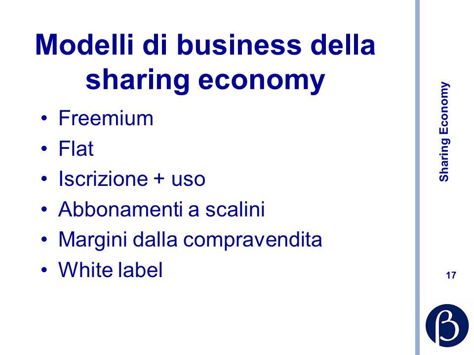 Sharing Economy 17 Modelli di business della sharing economy Freemium Flat Iscrizione + uso Abbonamenti a scalini Margini dalla compravendita White label