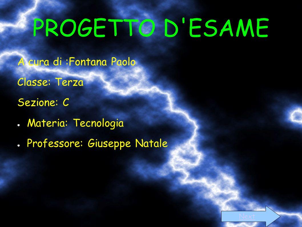 PROGETTO D'ESAME A cura di :Fontana Paolo Classe: Terza Sezione: C ● Materia: Tecnologia ● Professore: Giuseppe Natale Next