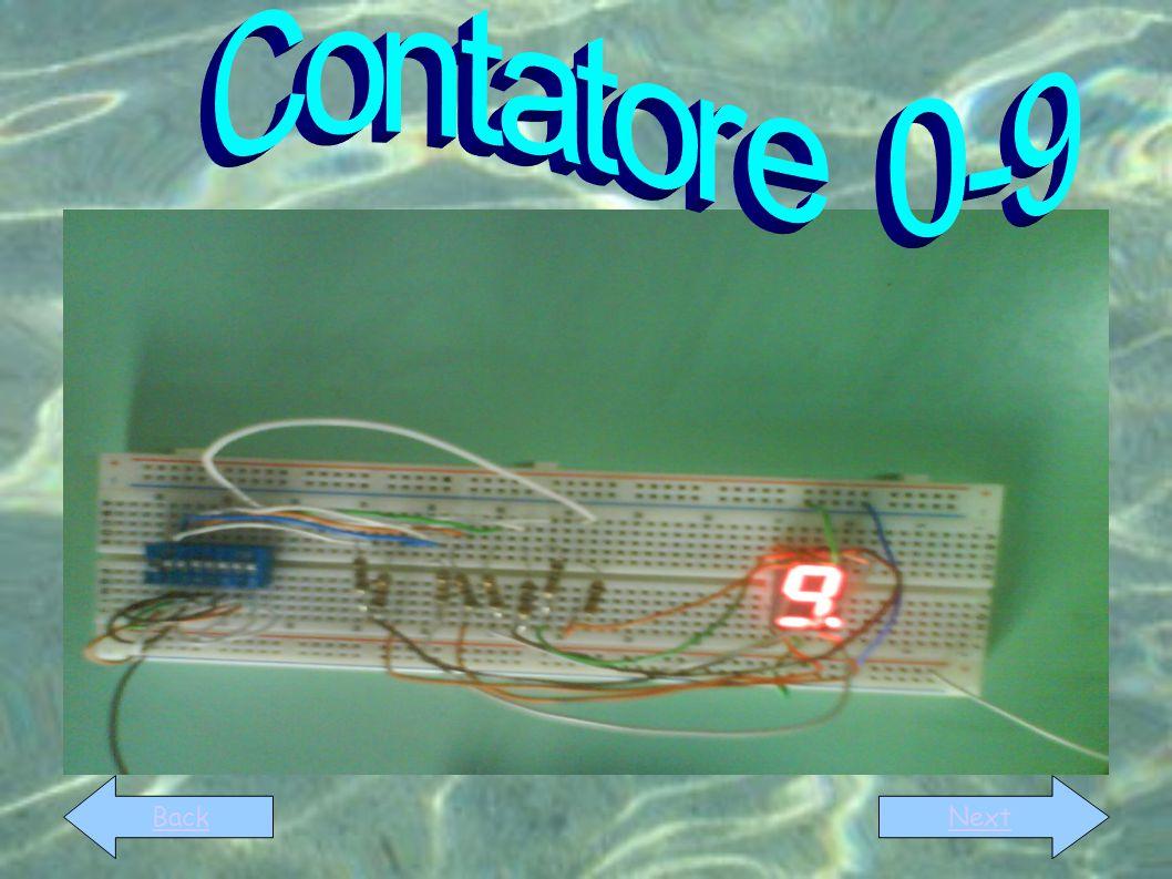 Il contatore 0-9 è un circuito capace, quando è alimentato da una batteria, di contare autonomamente da 0 a 9, utilizzando il codice binario BackNext