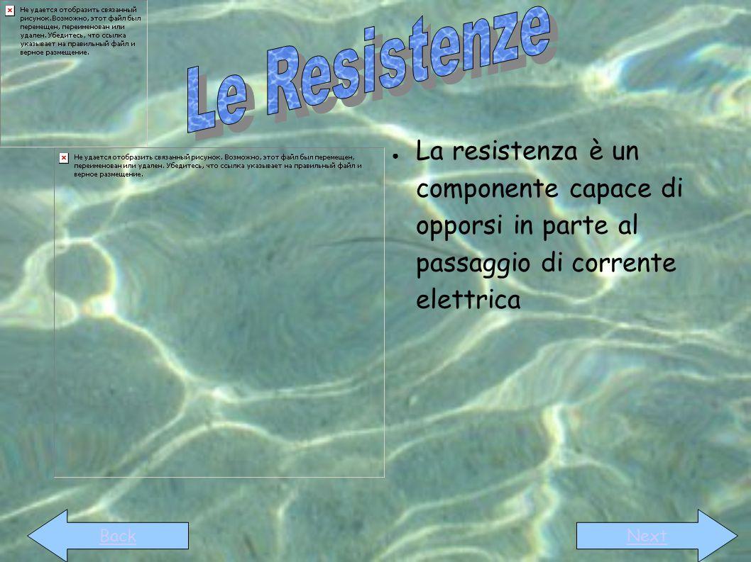 ● La resistenza è un componente capace di opporsi in parte al passaggio di corrente elettrica BackNext