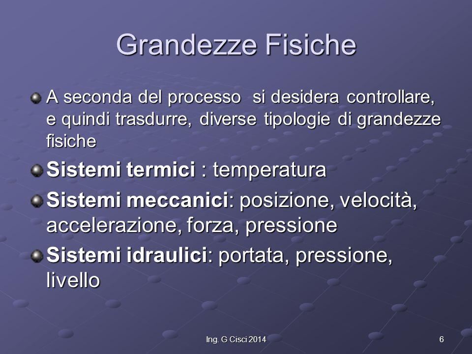 6Ing. G Cisci 2014 Grandezze Fisiche A seconda del processo si desidera controllare, e quindi trasdurre, diverse tipologie di grandezze fisiche Sistem