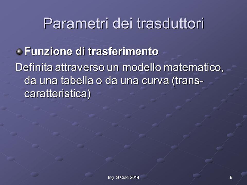 8Ing. G Cisci 2014 Parametri dei trasduttori Funzione di trasferimento Definita attraverso un modello matematico, da una tabella o da una curva (trans