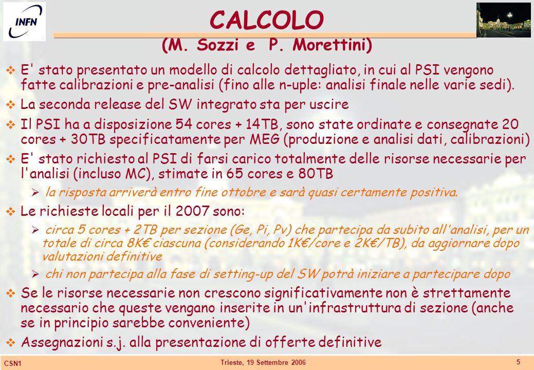Trieste, 19 Settembre 2006 CSN1 5 CALCOLO (M. Sozzi e P. Morettini)  E' stato presentato un modello di calcolo dettagliato, in cui al PSI vengono fat