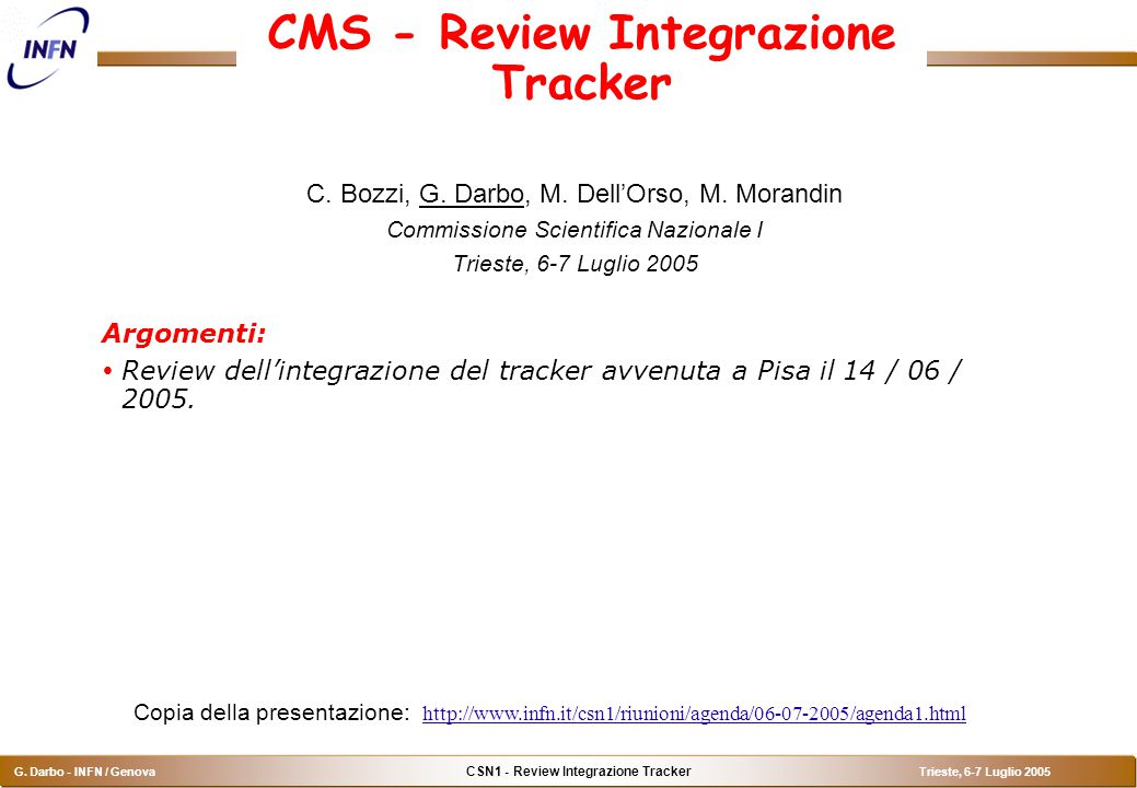 CSN1 - Review Integrazione Tracker G.