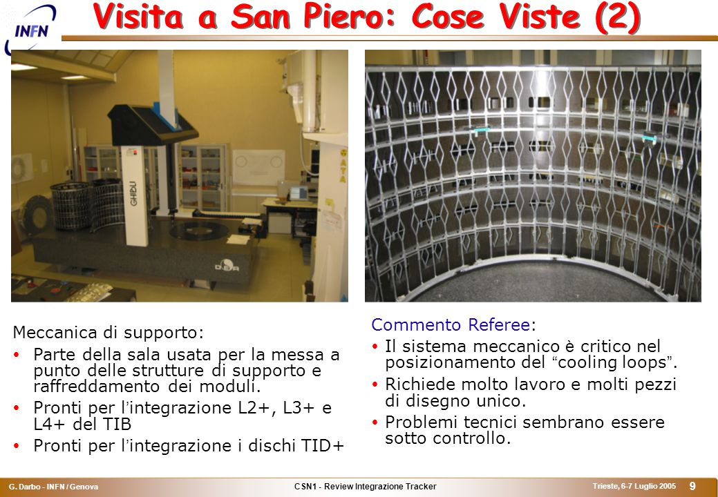 CSN1 - Review Integrazione Tracker G. Darbo - INFN / Genova Trieste, 6-7 Luglio 2005 9 Visita a San Piero: Cose Viste (2) Meccanica di supporto:  Par