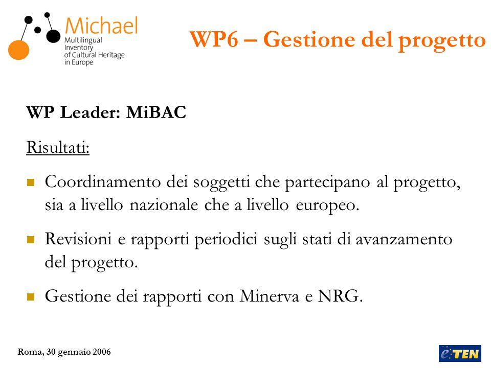 Roma, 30 gennaio 2006 WP Leader: MiBAC Risultati: Coordinamento dei soggetti che partecipano al progetto, sia a livello nazionale che a livello europeo.