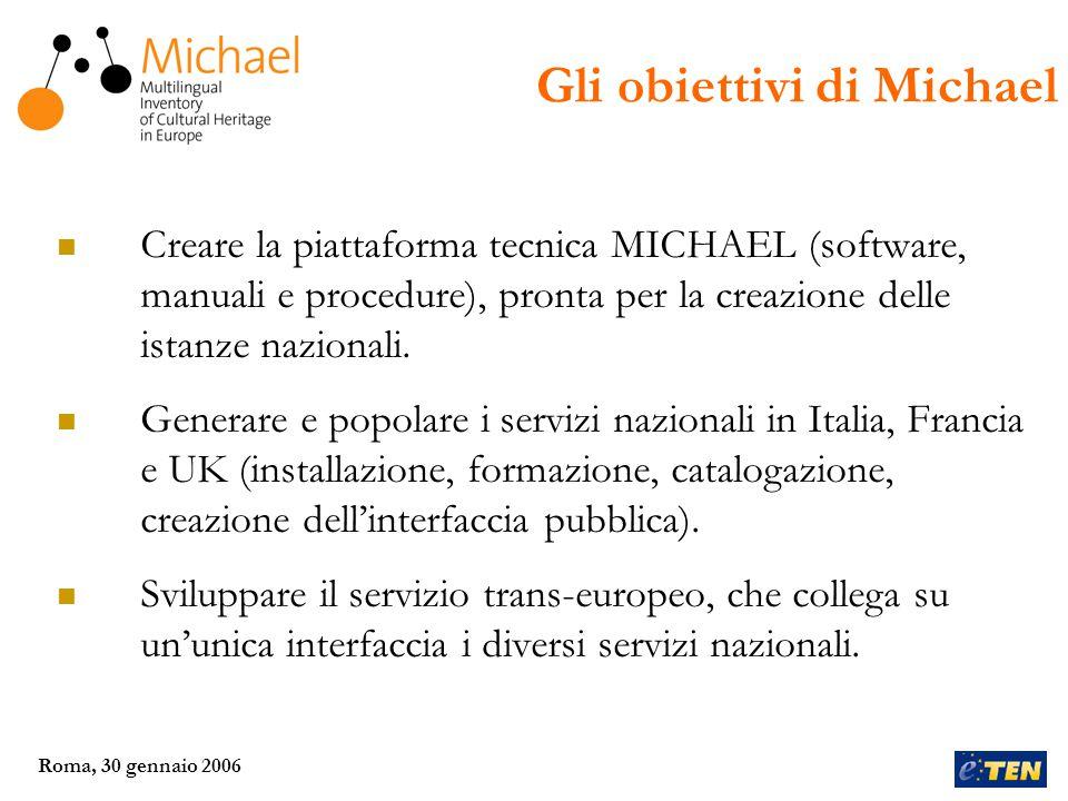 Roma, 30 gennaio 2006 Febbraio 2006 Istanze nazionali funzionanti, catalogazione e popolamento del database in corso nei 3 paesi; Prima versione del servizio trans-europeo disponibile online.