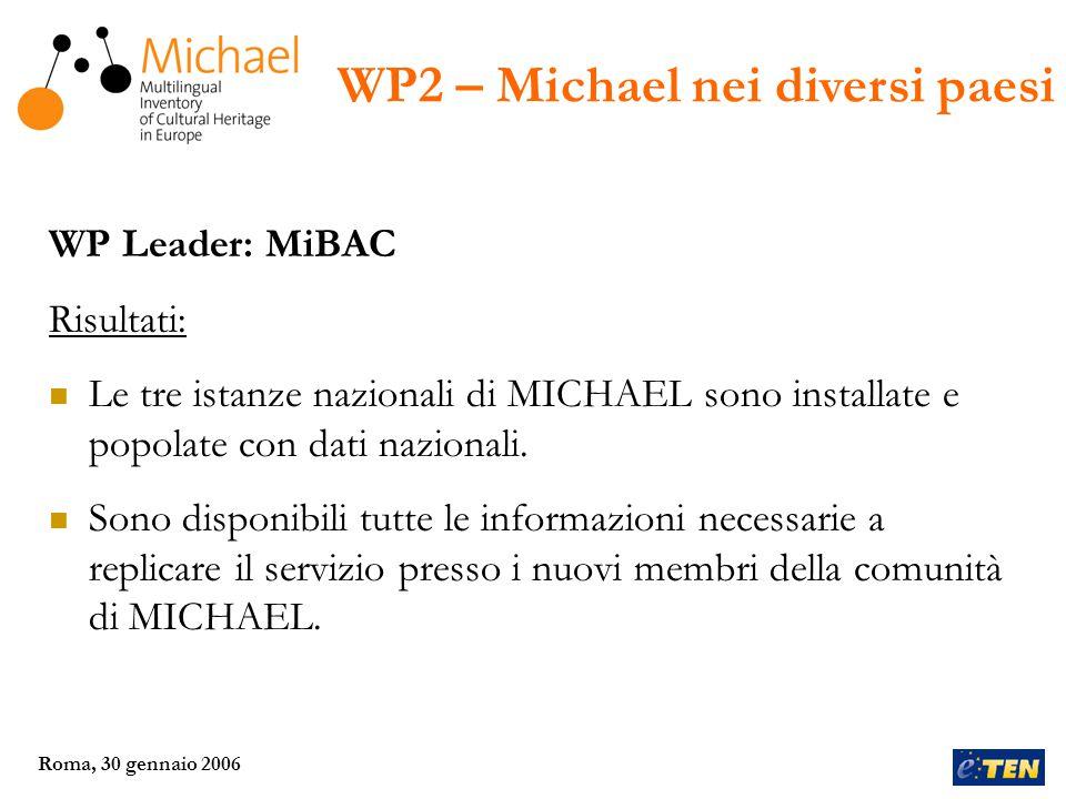 Roma, 30 gennaio 2006 WP Leader: MLA (UK) Risultati: Divulgare informazioni sul data model e sui servizi di MICHAEL, al fine di favorire la partecipazione di operatori culturali locali, regionali e nazionali.