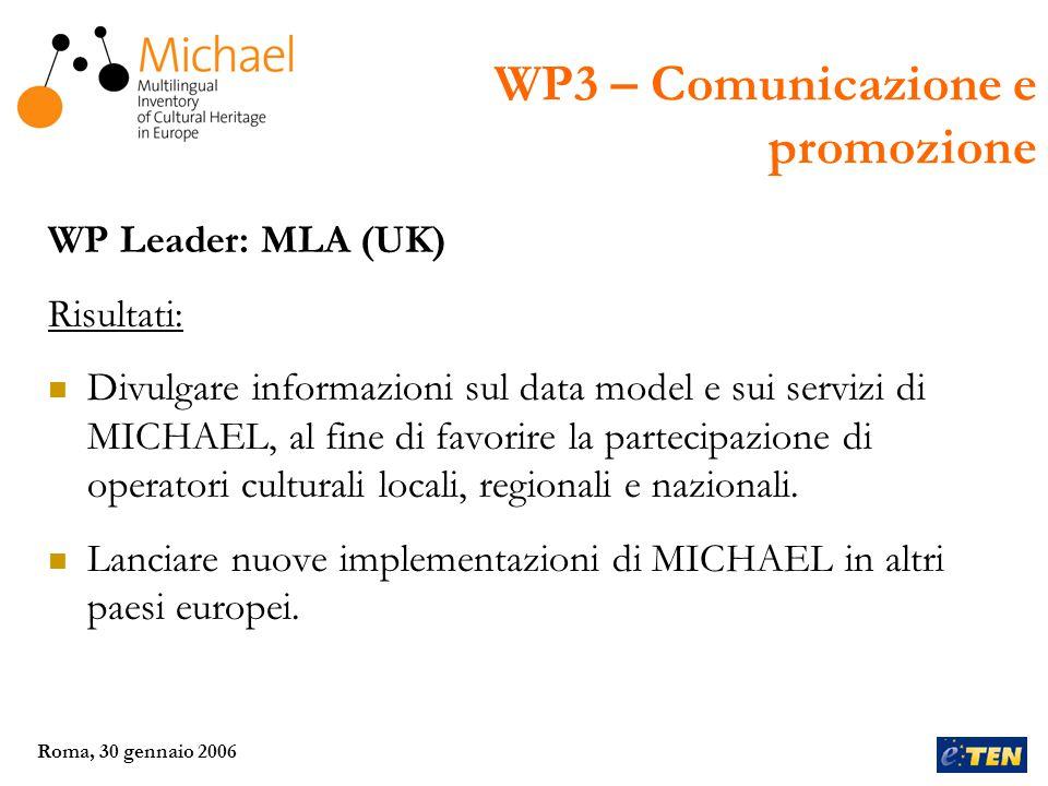 Roma, 30 gennaio 2006 WP Leader: DEDALE (Francia) Risultati: Creazione del servizio trans-europeo di MICHAEL, che offrirà un punto di accesso unico e multilingua ai vari servizi nazionali.