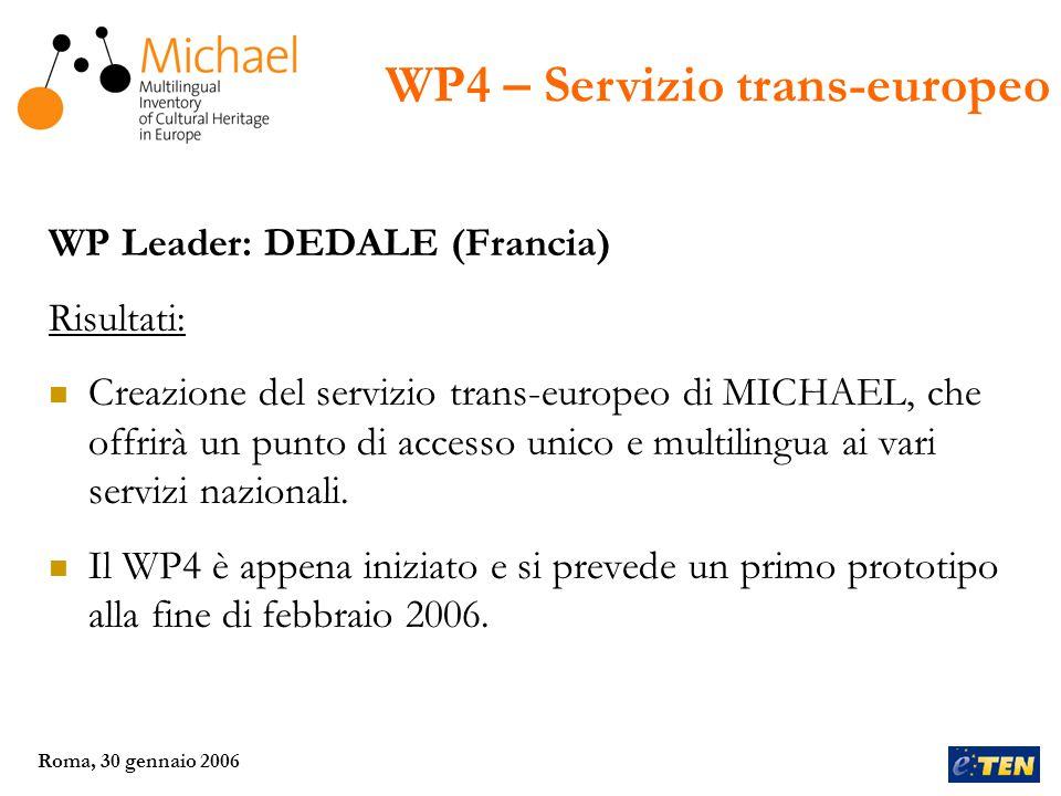 Roma, 30 gennaio 2006 WP Leader: MCC (Francia) Risultati: Entro giugno 2007, verrà costituita una nuova struttura ad-hoc, dove ciascun paese partecipante potrà essere rappresentato.