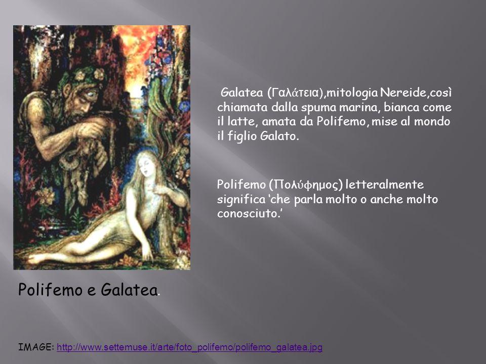 Polifemo e Galatea. Polifemo (Πολ ύϕ ημος) letteralmente significa 'che parla molto o anche molto conosciuto.' Galatea ( Γαλ ά τεια),mitologia Nereide