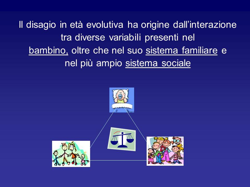Il disagio in età evolutiva ha origine dall'interazione tra diverse variabili presenti nel bambino, oltre che nel suo sistema familiare e nel più ampi