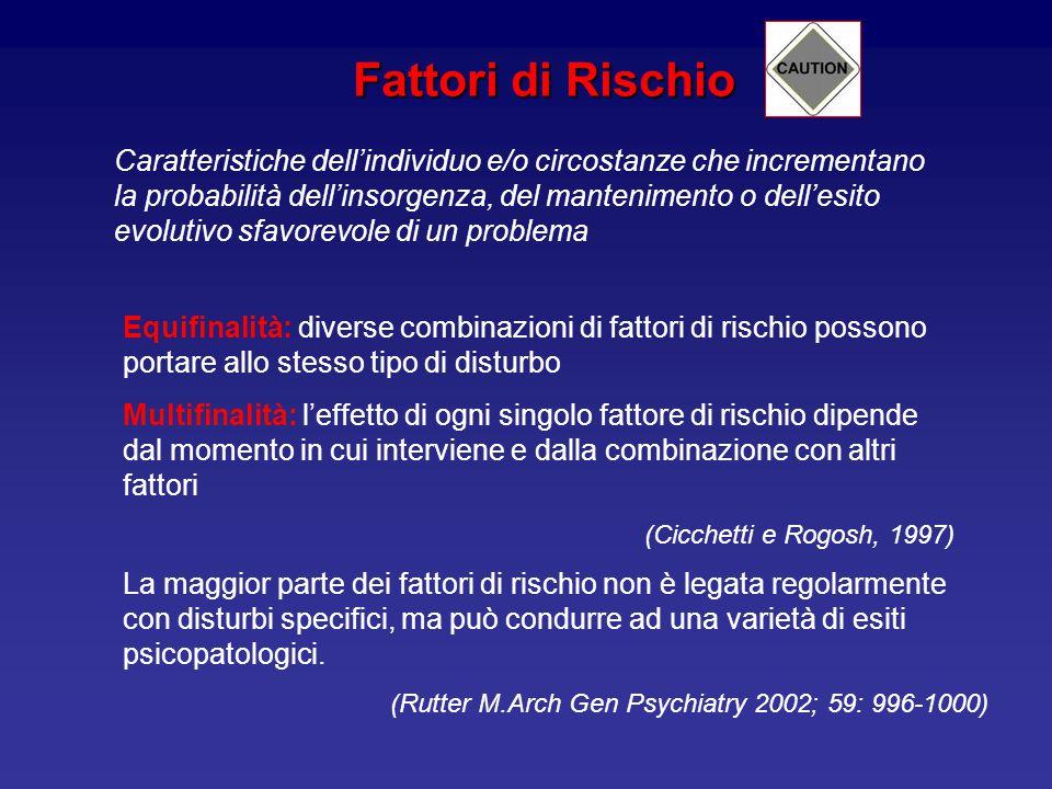 Fattori di Rischio Caratteristiche dell'individuo e/o circostanze che incrementano la probabilità dell'insorgenza, del mantenimento o dell'esito evolutivo sfavorevole di un problema Equifinalità: diverse combinazioni di fattori di rischio possono portare allo stesso tipo di disturbo Multifinalità: l'effetto di ogni singolo fattore di rischio dipende dal momento in cui interviene e dalla combinazione con altri fattori (Cicchetti e Rogosh, 1997) La maggior parte dei fattori di rischio non è legata regolarmente con disturbi specifici, ma può condurre ad una varietà di esiti psicopatologici.
