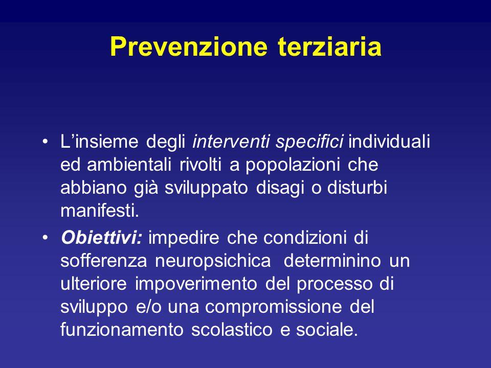 Prevenzione terziaria L'insieme degli interventi specifici individuali ed ambientali rivolti a popolazioni che abbiano già sviluppato disagi o disturbi manifesti.
