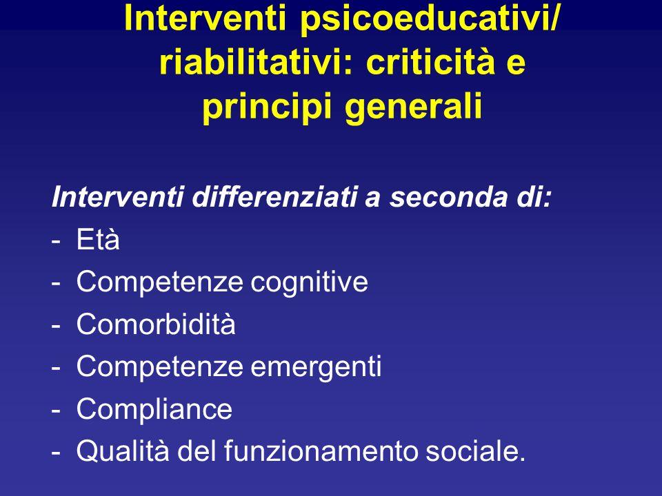 Interventi psicoeducativi/ riabilitativi: criticità e principi generali Interventi differenziati a seconda di: -Età -Competenze cognitive -Comorbidità -Competenze emergenti -Compliance -Qualità del funzionamento sociale.