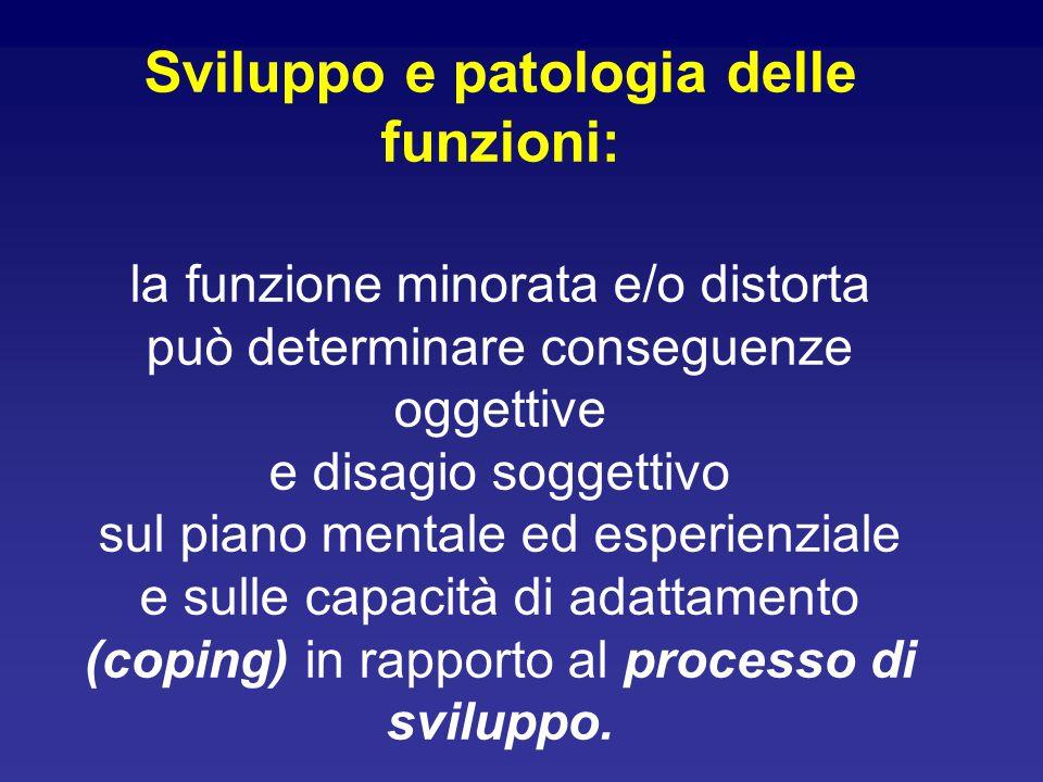 Sviluppo e patologia delle funzioni: la funzione minorata e/o distorta può determinare conseguenze oggettive e disagio soggettivo sul piano mentale ed