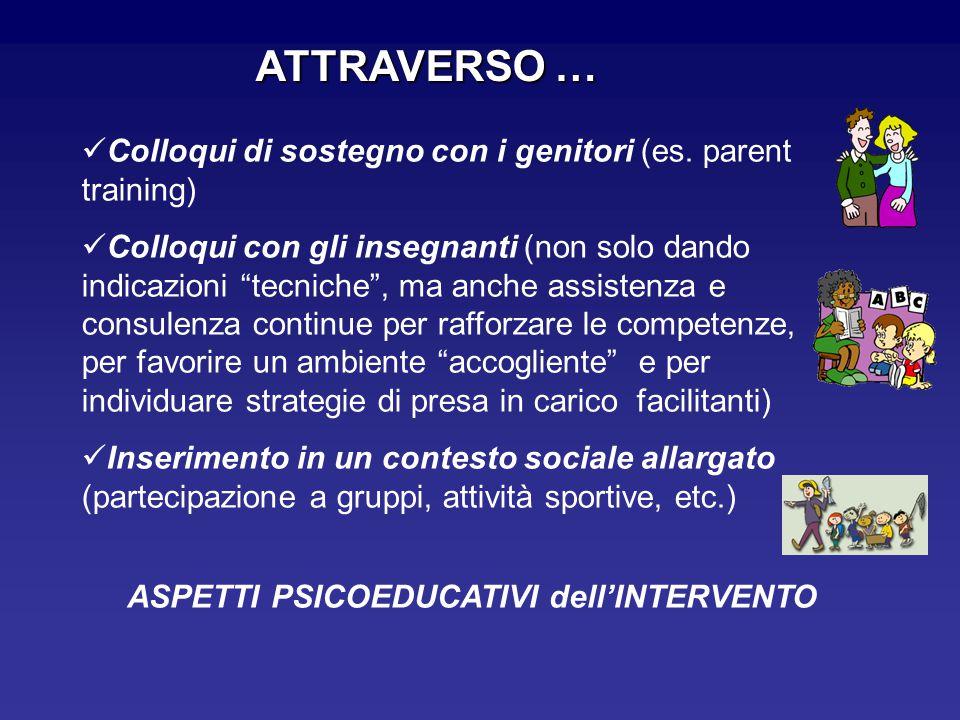 """ATTRAVERSO … Colloqui di sostegno con i genitori (es. parent training) Colloqui con gli insegnanti (non solo dando indicazioni """"tecniche"""", ma anche as"""