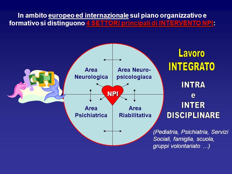 4 SETTORI principali di INTERVENTO NPI: In ambito europeo ed internazionale sul piano organizzativo e formativo si distinguono 4 SETTORI principali di