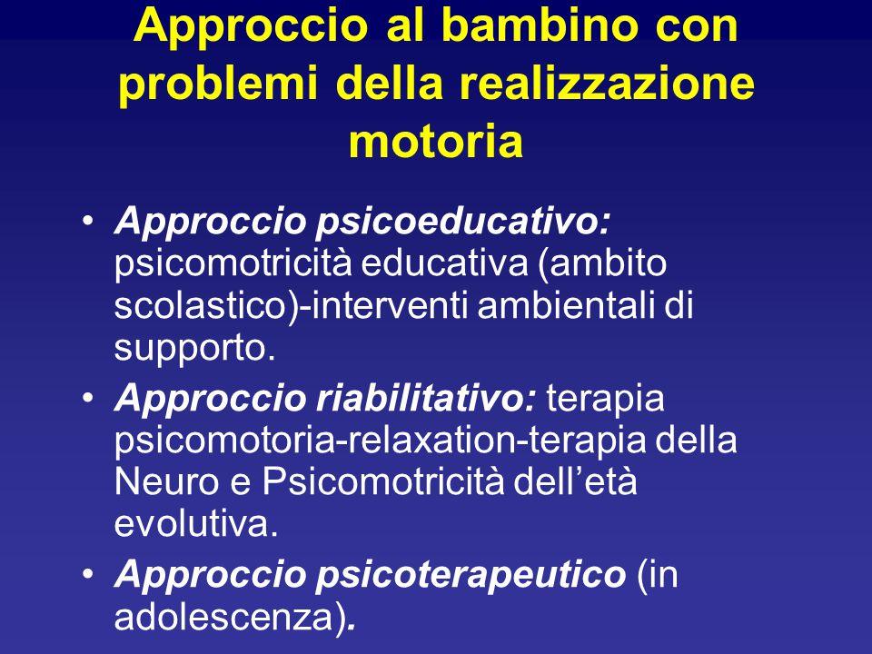 Approccio al bambino con problemi della realizzazione motoria Approccio psicoeducativo: psicomotricità educativa (ambito scolastico)-interventi ambientali di supporto.