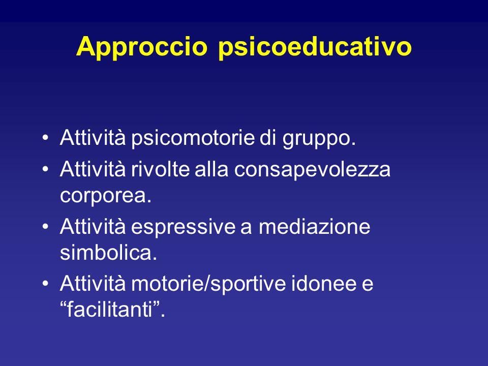 Approccio psicoeducativo Attività psicomotorie di gruppo. Attività rivolte alla consapevolezza corporea. Attività espressive a mediazione simbolica. A