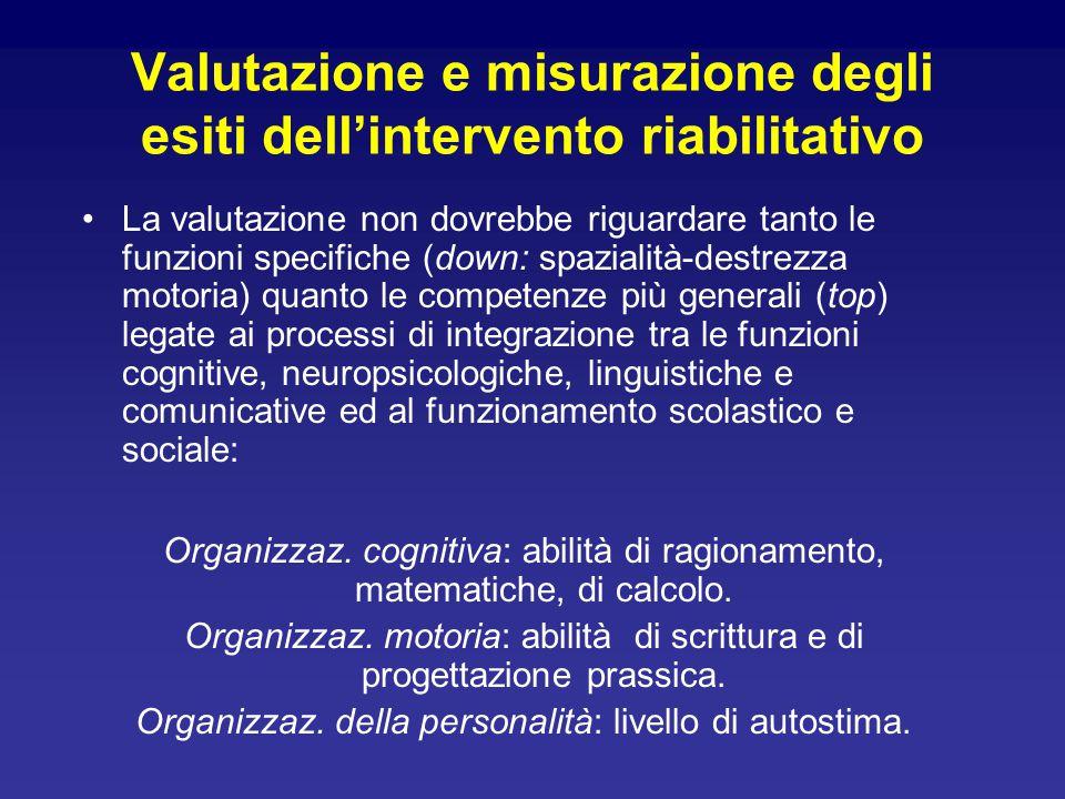 Valutazione e misurazione degli esiti dell'intervento riabilitativo La valutazione non dovrebbe riguardare tanto le funzioni specifiche (down: spazial