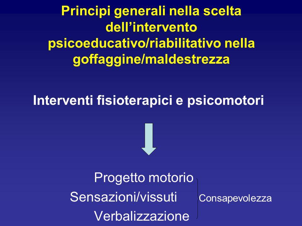 Principi generali nella scelta dell'intervento psicoeducativo/riabilitativo nella goffaggine/maldestrezza Interventi fisioterapici e psicomotori Progetto motorio Sensazioni/vissuti Consapevolezza Verbalizzazione